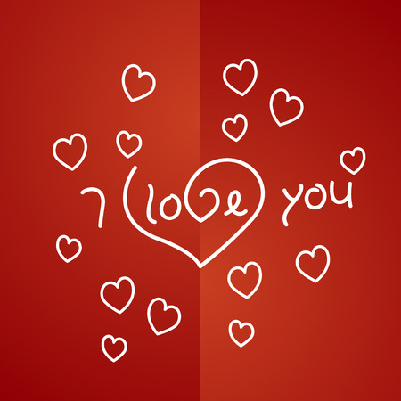 i love you: I love you outline heart background vector