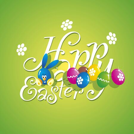 Easter color rabbit eggs green background Vector