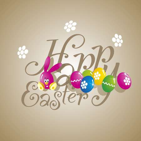 Easter color rabbit eggs brown background Vector