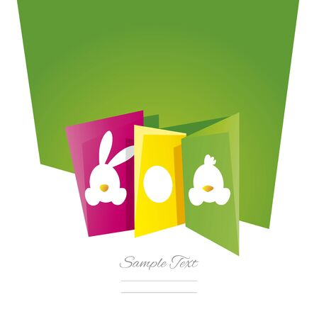 chick: Easter symbol bunny egg chick green background