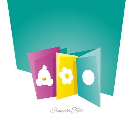 sea green: Easter symbol cards sea green background Illustration