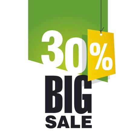 Big Sale 30 percent off green background Vector
