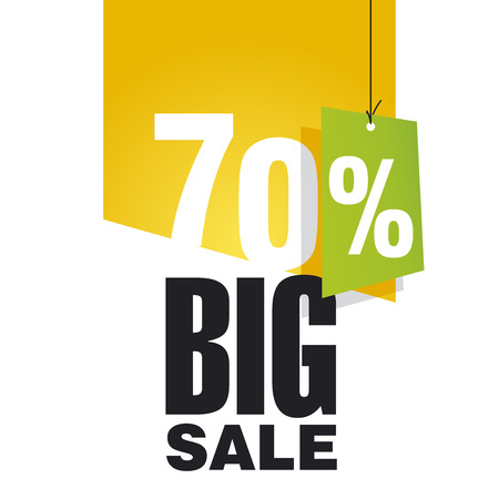 Big Sale 70 percent off orange background Vector