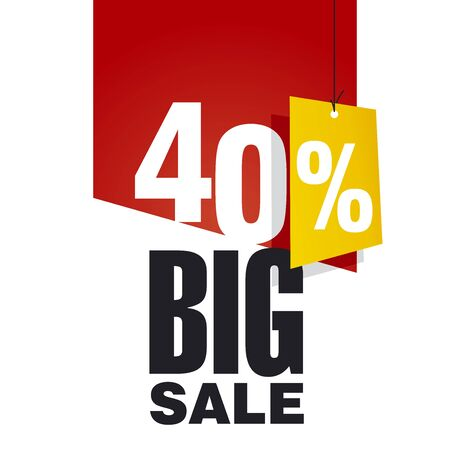 40: Big Sale 40 percent off red background