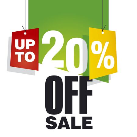 20: Sale up to 20 percent off green background Illustration