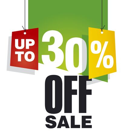 Sale up to 30 percent off green background Vector