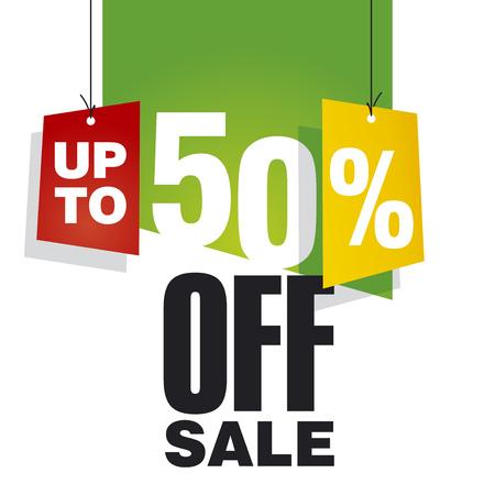 Verkoop tot 50 procent korting op groene achtergrond