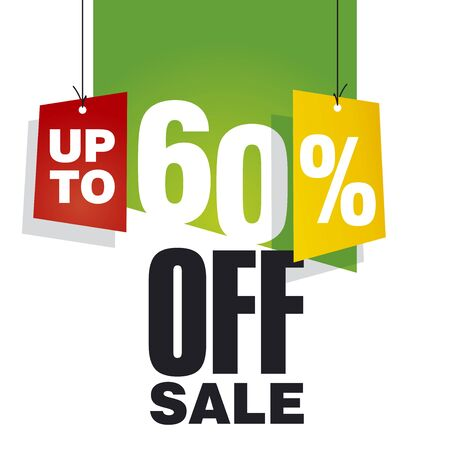 sell off: Sale up to 60 percent off green background