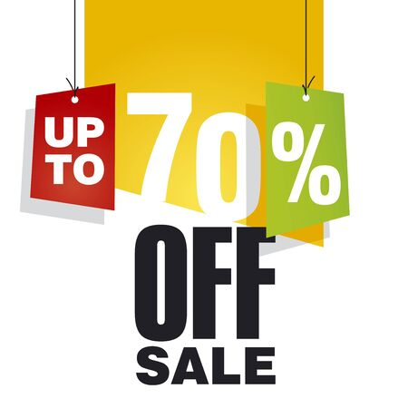 Sale up to 70 percent off orange background Vector