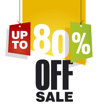 sell off: Sale up to 80 percent off orange background Illustration