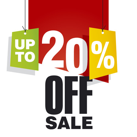 Sale up to 20 percent off red background Çizim