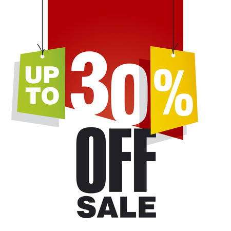 30: Sale up to 30 percent off red background