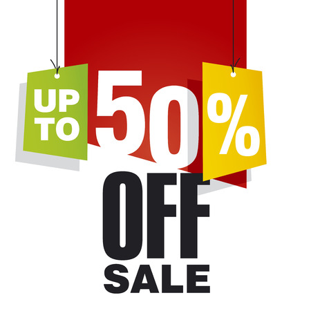 Sale up to 50 percent off red background Çizim