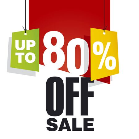 sell off: Sale up to 80 percent off red background