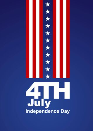 4th July white stars red white blue background Vector