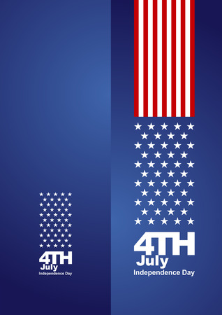 4th July front back red blue background card Vector