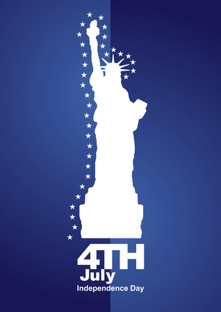 4th July stars Statue of Liberty blue background Vector