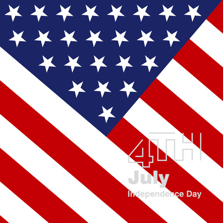 4th July silver logo US flag background Vector