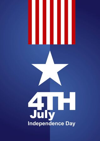 4th July white star red blue background Vector