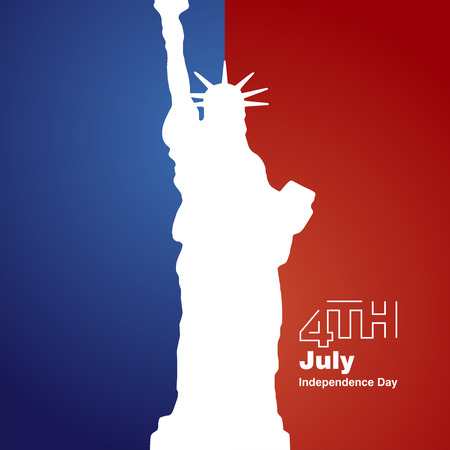 liberty statue: Liberty 4th July white logo blue red background