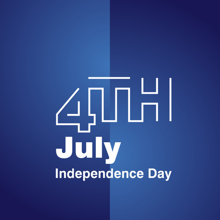 4 july: 4th July white line logo blue background