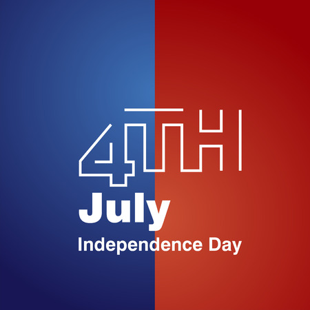 4th july: 4th July white line logo blue red background