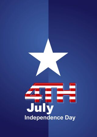 4 july: 4th July white star blue background