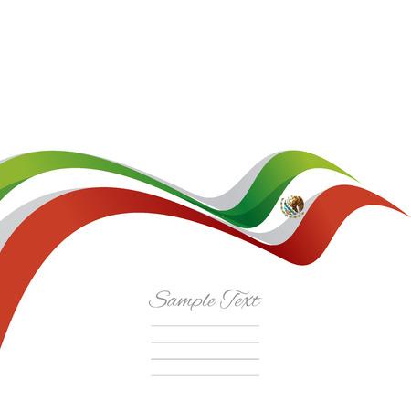 drapeau mexicain: Résumé couverture ruban mexicain fond blanc vecteur
