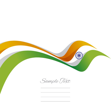 green flag: Abstract cover Indian ribbon white background vector