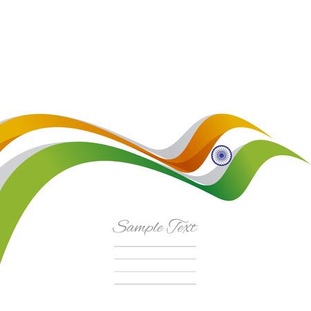 bandera de la india: Cubierta abstracta cinta india fondo blanco vector Vectores