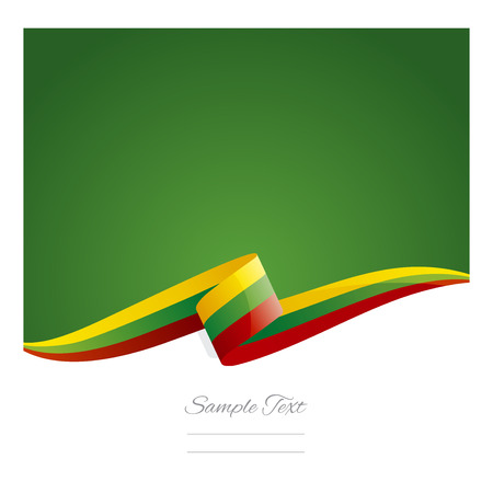 lithuania: New abstract Lithuania flag ribbon Illustration