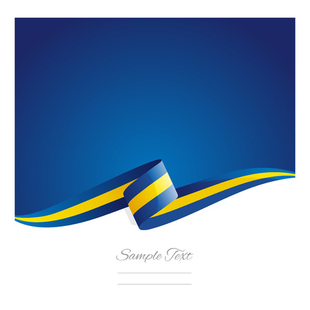 blue waves vector: New abstract Sweden flag ribbon