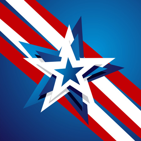 4th of july: 4th July abstract star blue white red background Illustration