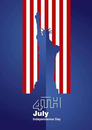 4th of july: 4th July Statue of Liberty blue background Illustration