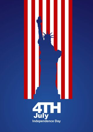 4th of july: 4th July Statue of Liberty US flag blue background Illustration
