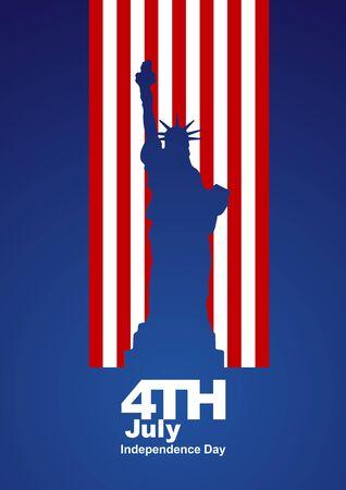 4th July Statue of Liberty US flag blue background Çizim