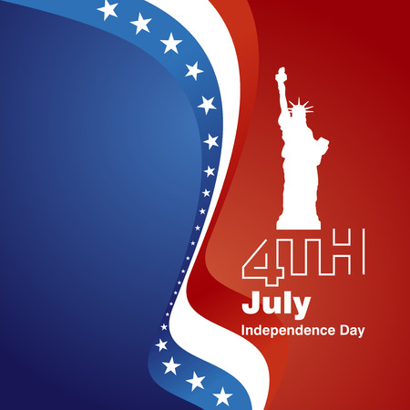 4th july: 4th July white blue red greeting card background