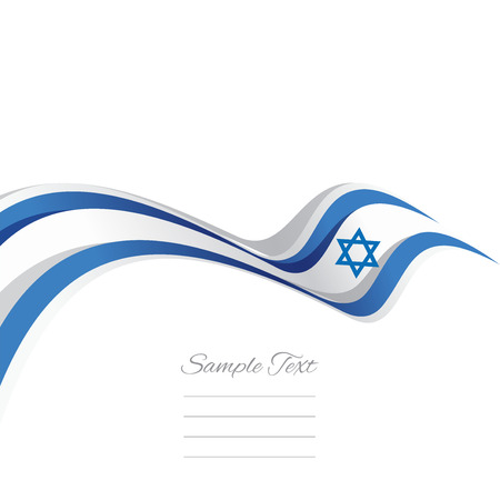 flag vector: Abstract cover Israeli ribbon white background vector