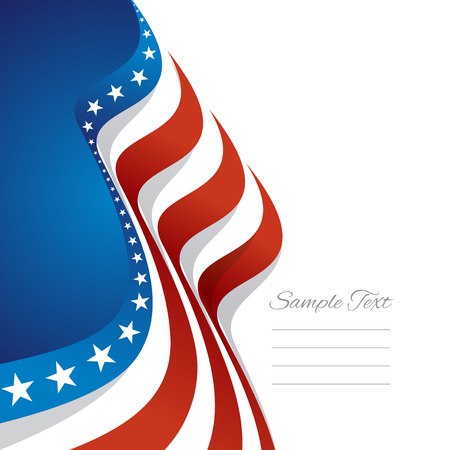Abstract US flag left cover blue background vector 일러스트