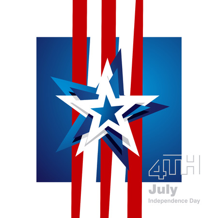 4th of july: 4th July abstract star logo blue white background
