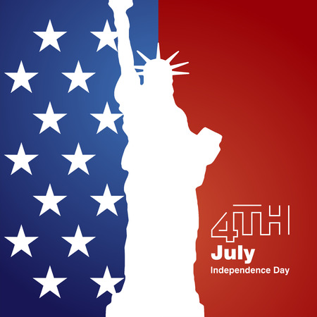 4th of july: Liberty 4th July stars white logo blue red background Illustration