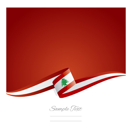 lebanon: New abstract Lebanon flag ribbon Illustration