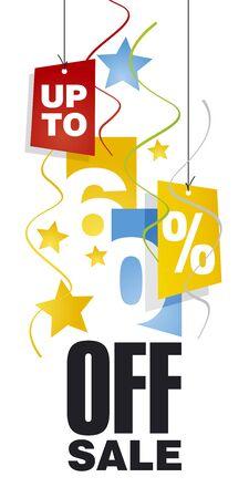 60: Up to 60 percent off sale orange blue background