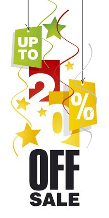 sell off: Up to 20 percent off sale red orange background