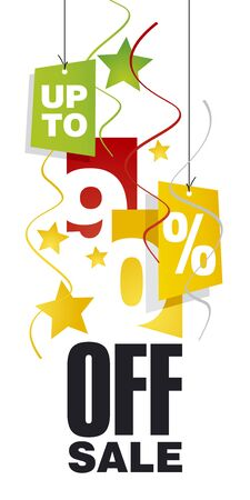 sell off: Up to 90 percent off sale red orange background Illustration