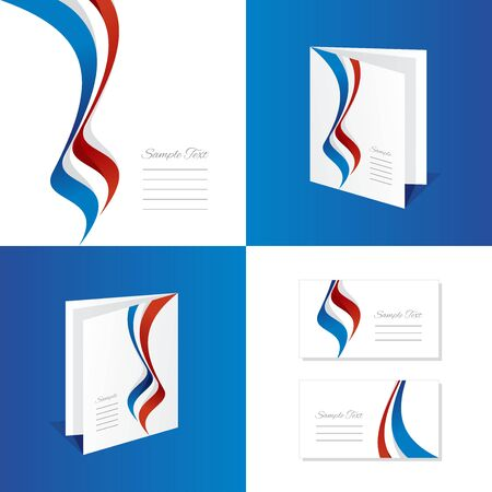 red white blue: Abstract France brochure leaflet folder cover business card Illustration