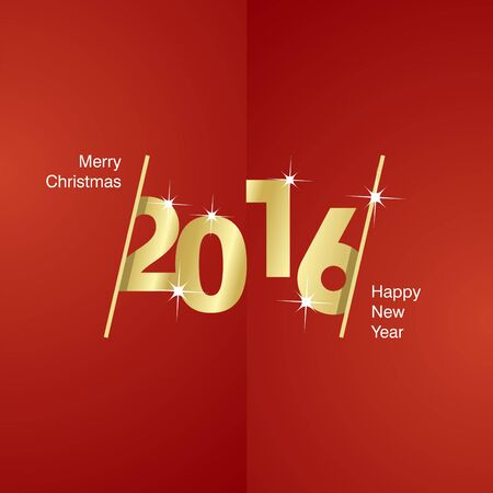 advent calendar: 2016 Happy New Year gold red background