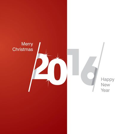 advent calendar: 2016 Happy New Year red white gray background
