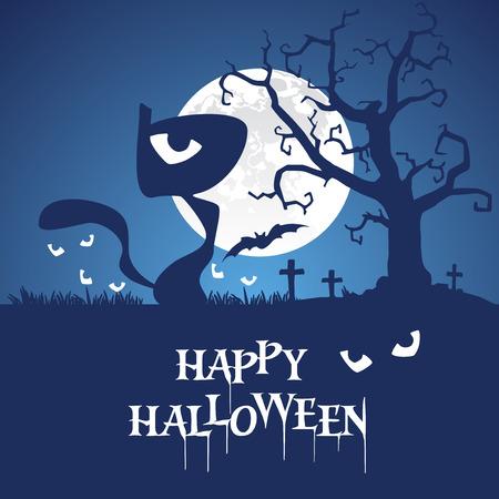 Happy Halloween black cat blue background Illustration