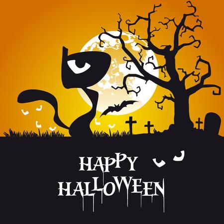 halloween black cat: Happy Halloween black cat orange background